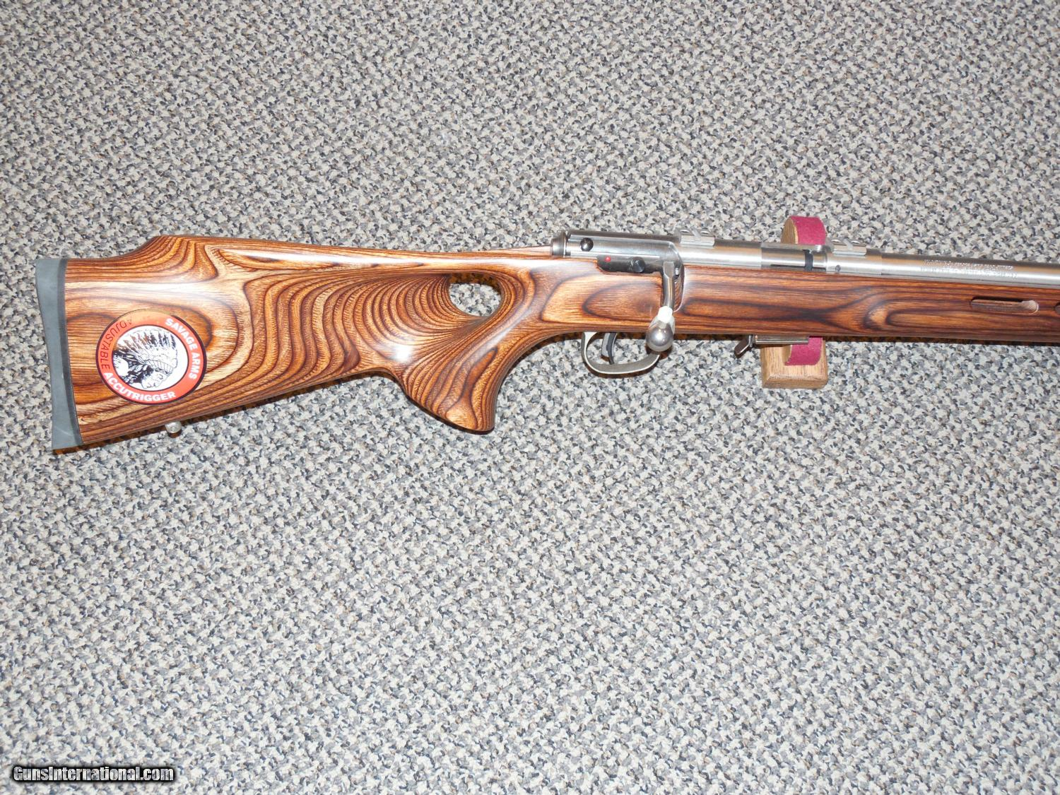 SAVAGE MODEL 93 BTVS RIFLE IN .22 MAGNUM WITH THUMBHOLE LAMINATED STOCK