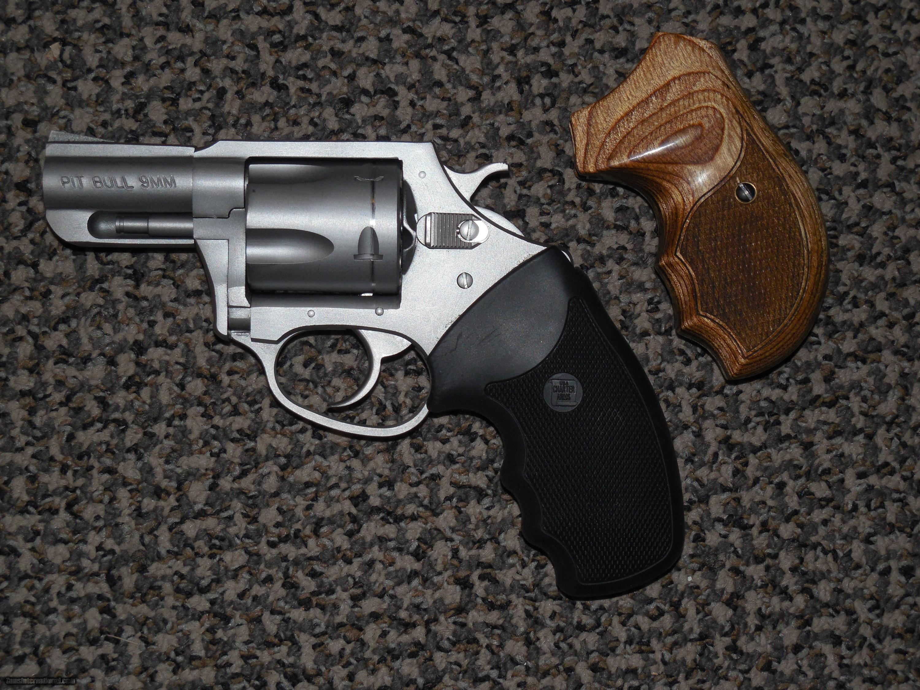 CHARTER ARMS PIT BULL 9 MM STAINLESS REVOLVER WITH EXTRA GRIPS