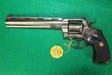 "Colt Python .357 Magnum 8"" Barrel Satin Nickel Mint In Box"