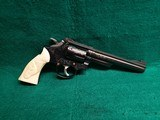 SMITH & WESSON - MODEL 19-3 PINNED AND RECESSED 6 INCH BARREL ENGRAVED W-REAL CARVED ELEPHANT IVORY GRIPS MFG. 1975 NICE BORE! - 357 magnum