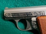 """BAUER AUTOMATIC - STAINLESS. """"BABY BROWNING CLONE"""". W-ONE MAGAZINE. ENGRAVED BY CLINT FINLEY. GORGEOUS! - .25 ACP - 17 of 20"""