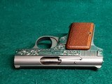 """BAUER AUTOMATIC - STAINLESS. """"BABY BROWNING CLONE"""". W-ONE MAGAZINE. ENGRAVED BY CLINT FINLEY. GORGEOUS! - .25 ACP - 13 of 20"""