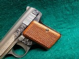 """BAUER AUTOMATIC - STAINLESS. """"BABY BROWNING CLONE"""". W-ONE MAGAZINE. ENGRAVED BY CLINT FINLEY. GORGEOUS! - .25 ACP - 16 of 20"""