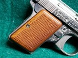 """BAUER AUTOMATIC - STAINLESS. """"BABY BROWNING CLONE"""". W-ONE MAGAZINE. ENGRAVED BY CLINT FINLEY. GORGEOUS! - .25 ACP - 18 of 20"""