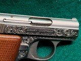 """BAUER AUTOMATIC - STAINLESS. """"BABY BROWNING CLONE"""". W-ONE MAGAZINE. ENGRAVED BY CLINT FINLEY. GORGEOUS! - .25 ACP - 20 of 20"""