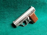"""BAUER AUTOMATIC - STAINLESS. """"BABY BROWNING CLONE"""". W-ONE MAGAZINE. ENGRAVED BY CLINT FINLEY. GORGEOUS! - .25 ACP - 5 of 20"""