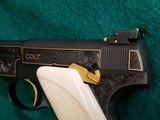 COLT - WOODSMAN. MATCH TARGET. 1ST SERIES. ENGRAVED BY JIM SORNBERGER W-GOLD INLAYS. CHECKERED IVORY GRIPS. STUNNING PISTOL! MFG. IN 1939 - .22 LR - 14 of 17
