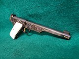 COLT - WOODSMAN. MATCH TARGET. 1ST SERIES. ENGRAVED BY JIM SORNBERGER W-GOLD INLAYS. CHECKERED IVORY GRIPS. STUNNING PISTOL! MFG. IN 1939 - .22 LR - 3 of 17