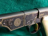 COLT - WOODSMAN. MATCH TARGET. 1ST SERIES. ENGRAVED BY JIM SORNBERGER W-GOLD INLAYS. CHECKERED IVORY GRIPS. STUNNING PISTOL! MFG. IN 1939 - .22 LR - 15 of 17