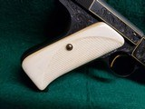 COLT - WOODSMAN. MATCH TARGET. 1ST SERIES. ENGRAVED BY JIM SORNBERGER W-GOLD INLAYS. CHECKERED IVORY GRIPS. STUNNING PISTOL! MFG. IN 1939 - .22 LR - 10 of 17