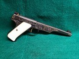 COLT - WOODSMAN. MATCH TARGET. 1ST SERIES. ENGRAVED BY JIM SORNBERGER W-GOLD INLAYS. CHECKERED IVORY GRIPS. STUNNING PISTOL! MFG. IN 1939 - .22 LR