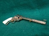 """COLT - NEW FRONTIER S.A.A. 3RD GEN. NICKEL PLATED. 7.5"""" BBL. ENGRAVED BY BRIAN MEARS. CHECKERED IVORY GRIPS. MFG. IN 1981 - .44 SPECIAL - 10 of 18"""