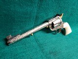 """COLT - NEW FRONTIER S.A.A. 3RD GEN. NICKEL PLATED. 7.5"""" BBL. ENGRAVED BY BRIAN MEARS. CHECKERED IVORY GRIPS. MFG. IN 1981 - .44 SPECIAL - 5 of 18"""