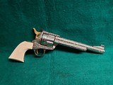 """COLT - NEW FRONTIER S.A.A. 3RD GEN. NICKEL PLATED. 7.5"""" BBL. ENGRAVED BY BRIAN MEARS. CHECKERED IVORY GRIPS. MFG. IN 1981 - .44 SPECIAL - 1 of 18"""