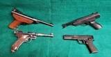 LOT OF 4 VINTAGE AIR PISTOLS/BB GUNS - INDUSTRY BREAK BARREL. CROSMAN MARK I. DAISY 188. MARKSMAN REPEATER. SOLD AS-IS! - .177 CAL. & .22 CAL.