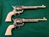 Pair of Ben Lane Engraved Colt SAAs, 2nd Gen .45LC, Presentation Cased