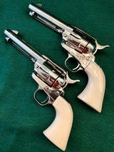 Pair of Colt SAA .45LC 2nd Generation with Holsters and Belt - 5 of 14