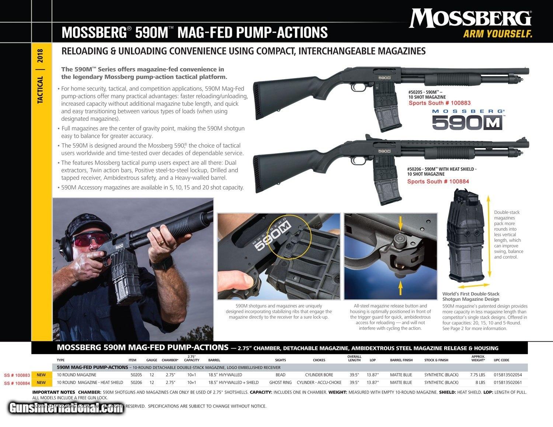 Mossberg 50205 590M Mag-Fed Pump 12 Gauge 18 5