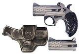 "Bond Arms PKG2 Old Glory Package 2 Leather Holster Derringer 45/410, 357/38 3.5"" 2 Black Ash American Flag Grip American Flag Stainless Steel Cer"