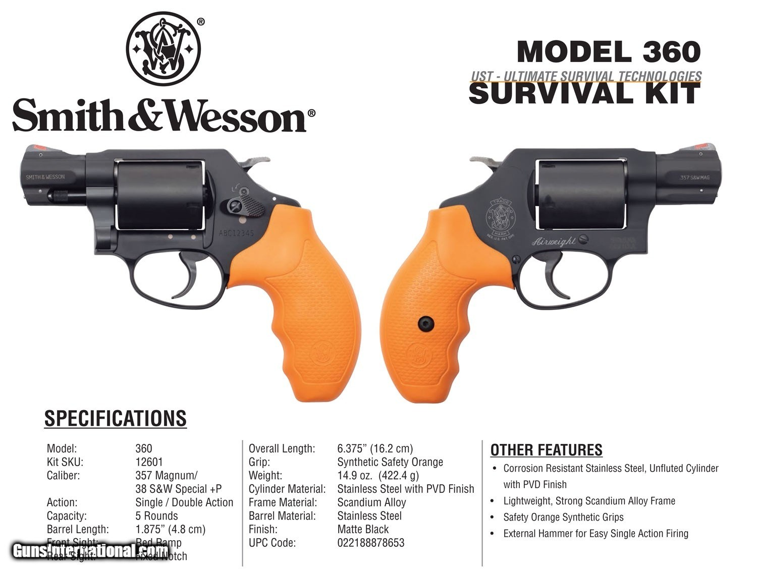 Smith & Wesson 12601 360 Survival Kit Revolver Single/Double 357