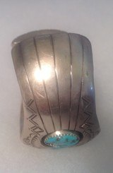 Native American turquoise and Sterling silver bracelet, signed and marked - 8 of 11