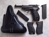 Walther P-38, Coded SVW 45, w/holster, 3 clips and 2 grips; metal and plastic - 2 of 7