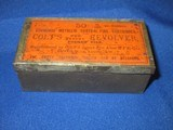 "A VERY SCARCE & EARLY ""COLT'S PATENT"" MARKED ORANGE & BLACK LABEL FULL TIN OF ORIGINAL CARTRIDGES FOR THE COLT THUER POCKET REVOLVER IN"