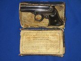 AN EARLY AND SCARCE REMINGTON ELLIOTT FOUR BARREL REPEATING PEPPERBOX DERINGER WITH ORIGINAL CARDBOARD BOX IN FINE UNTOUCHED CONDITION! - 1 of 17