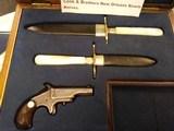 """Cook & Brothers""New Orleans Pair Civil War EraBowies, Sheaths in Oak Presentation Case& 1870's Derringer"