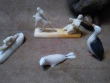 Inuit Native Alaskan Walrus Ivory Carvings Lot of 4 and a Fur Native Doll Awesome