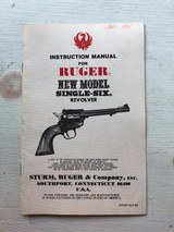 1980's Ruger Single Six Revolver Manual