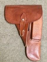 WWII WW2 German Browning Hi Power Holster - Brown Pebble Grain Leather - 1943