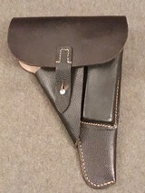 WWII WW2 German P.38 Holster - Black Pebble Grain Leather - cxb 4 - Mint - Unissued - 1 of 12