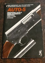 BROWNING AUTO 5 BOOKLET