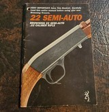 BROWNING .22 SEMI-AUTO BOOKLET