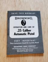 BROWNING .25 CALIBER AUTOMATIC PISTOL BOOKLET - 1 of 2