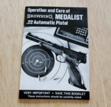 BROWNING MEDALIST .22 AUTOMATIC PISTOL BOOKLET