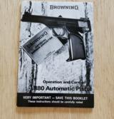 BROWNING .380 AUTOMATIC PISTOL BOOKLET