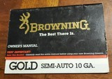 BROWNING GOLD SEMI-AUTO 10 GA. BOOKLET - 1 of 3