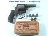 "c.1880's-1900's BELGIUM BULLDOG 5-SHOT REVOLVER 2 1/2"" Barrel .44 WEBLEY CENTERFIRE WITH FULL 50-ROUND RARE BOX OF CLEAN UMC AMMUNITION ! - 1 of 14"