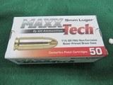 9mm Luger - MaxxTech - Brass 115Gr FMJ - 1 box 50 rounds