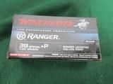 38 Sp+P Winchester Law Enforcement Ammunition - Ranger - 130GR - BJHP - Defense Protection Ammo