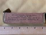 Early Frankford Arsenal 20 Cartridges, Pistol, Ball Caliber.45M 1911.
