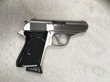 Preowned Walther PPK Full Stainless Pistol Chambered in .380 ACP with two 6 Round Magazines