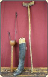 Civil War hand carved soldier's Crutch, Peg Leg and one Boot ca. 1860's