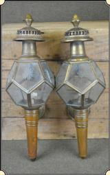 Brass Coach lamps. a pair Need some minor repair