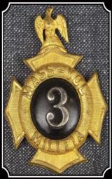 Massachusetts Volunteer Militia 3 Shako Insignia