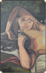 Original Old West Saloon nude oil paintingRJT# 4367 -$1,195.00