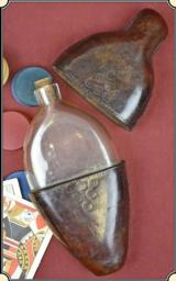 Whiskey flask leather cased hand blown glass