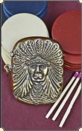 Indian head Figural match safe or Match Vesta